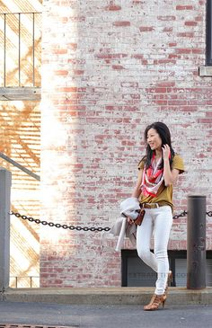 simple white jeans, tee and scarf look