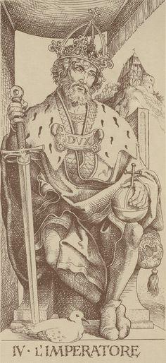 The Albrecht Dürer Tarot - Trump IV, The Emperor (L'Imperatore) Illustrations, Illustration Art, The Emperor Tarot, Albrecht Dürer, Le Tarot, Art Populaire, Tarot Major Arcana, Renaissance Art, Tarot Decks