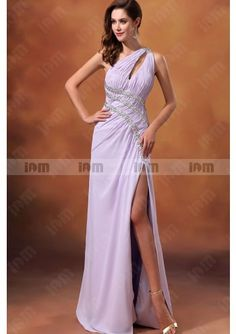A-Line One-Shoulder Pleated Beadings Strap Split Front Floor-Length Evening Dresses