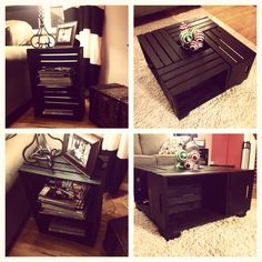 Wine Crate Coffee Table and End Table. Wine crates from Michaels, built a frame, legs, stained and screwed it all together.