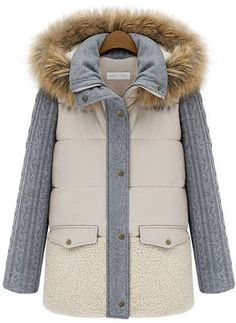 Beige Faux Fur Hooded Contrast Long Sleeve Parka