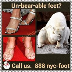 Are your feet un•bear•able? Call NYC FOOTCARE 888-nyc-foot / nycfootcare.com 212.385.2400 #NYC #pedicure #highheels #l4l #toes #makeup #manhattan #bronx #brooklyn #queens #fashion #fashionista #heels...
