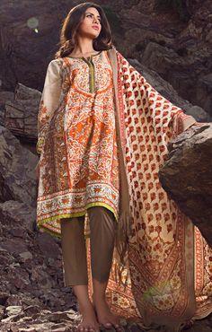 Buy Off-White/Brown Marina Salwar Kameez by Sana Safinaz Winter Collection