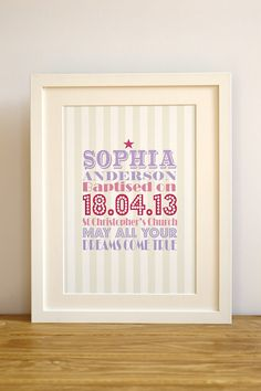 Personalised typography christening naming day baptism baby girl print. Unique gift for christening Bedroom Nursery baby girl personalised