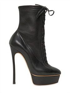 Casadei - 150Mm Calfskin Lace Up Low Boots | FashionJug.com