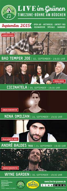 Live im Grünen – Timezone-Bühne am Büdchen - das Programm September 2015