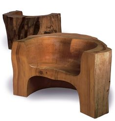 JOHN MAKEPEACE PAIR OF THRONE CHAIRS, 1987 carved and polished Cedar of Lebanon