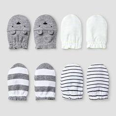 Baby 4 Pack Mitten Set Baby Cat & Jack™ - White/Heather Grey : Target