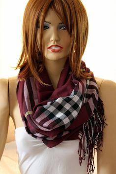 Purple  plaid infinity scarf. Unisex scarf. Men by oceanscarf, $18.90