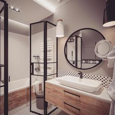 Projekty wnętrz by me&my mum :) Wood Tub, Surf House, Small Bathroom, Wc Bathroom, Corner Bathtub, Decoration, Interior Inspiration, Mirror, Interior Design