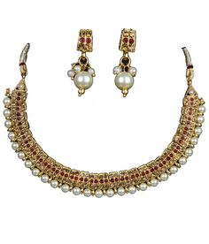 Indian Bollywood Fashion Designer Jewelry Traditional Pearl Necklace Earrings #VGJewel