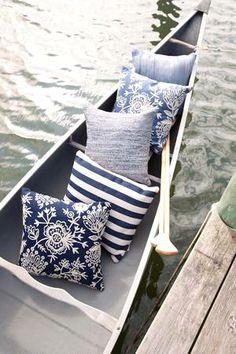 #DashAndAlbert Fresh American Trimaran Stripe Navy/Ivory Indoor/Outdoor Pillow
