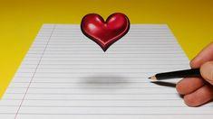 Drawing Tips Drawing a Floating, Levitating Heart, Anamorphic Trick Art - 3d Pencil Art, 3d Pencil Drawings, 2b Pencil, 3d Art Drawing, Color Pencil Art, Love Drawings, Drawing Tips, 3d Illusion Drawing, Illusion Art