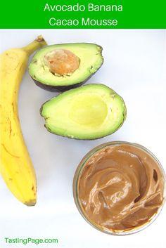 Avocado Banana Cacao Mousse - gluten free, dariy free, vegan with no refined sugar | TastingPage.com