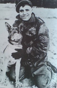 Sgt Peter Kowalski and Jonny Canuck, the Canadian Parachute Battalion's mascot who jumped into Normandy on D-Day with the Battalion. He Was So Eager To Go, He Pulled His Handler Out With Him. Dog Soldiers, Canadian Soldiers, Canadian Army, Canadian History, Military Dogs, Military Photos, Military History, An Officer And A Gentleman, Capital Of Canada