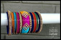 Your place to buy and sell all things handmade Silk Thread Bangles Design, Thread Jewellery, Diy Jewellery, Unique Jewelry, Indian Bangles, Indian Jewelry, Bridal Bangles, Thread Art, Bridal Shower Favors