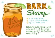 The Dark & Stormy, Recipe Card Illustration by Caitlin Keegan for Oh So Beautiful Paper