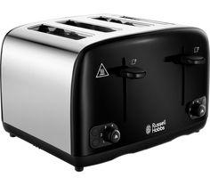 Russell Hobbs New Best 4 Slice Long Slot Toaster Wide Premium Black UK Plug