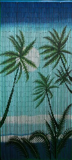 Your bamboo door beads with tropical night scene is a colorful doorway curtain for any type of room that may benefit from a tropical touch of nature. These bamboo door beads curtain with bamboo trees Bamboo Beaded Curtains, Beaded Door Curtains, Doorway Curtain, Outdoor Curtains, Drapes Curtains, Shop Wild Things, Door Dividers, Painted Bamboo, Hand Painted