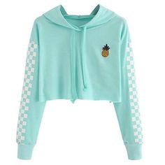Angie Pineapple Checkered Crop Top Hoodie in Mint Turquoise - . - Angie Pineapple Checkered Crop Top Hoodie in Mint Turquoise – # - Teenage Outfits, Teen Fashion Outfits, Mode Outfits, Girl Outfits, Fashion Women, Style Fashion, Fashion Ideas, Fashion Top, Tween Fashion