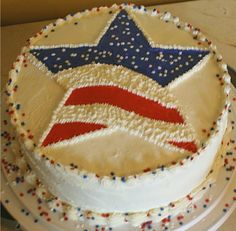 American Flag surprise — Independence Day of July) Patriotic Desserts, 4th Of July Desserts, Blue Desserts, Patriotic Crafts, Cake Cookies, Cupcake Cakes, American Flag Cake, Fourth Of July Cakes, Light Cakes