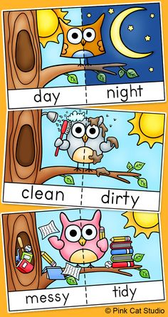 Antonyms Game Tiles, Posters and Flash Cards – Owl Theme Students will have a hoot practicing antonyms with these 16 whimsical owl antonyms flash cards, game tiles and posters! Learning English For Kids, English Lessons For Kids, Kids English, Teaching English, Learn English, Early Learning, Preschool Worksheets, Preschool Learning, Preschool Activities