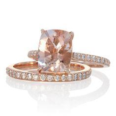 Bridal Set with Matching Band 14 Karat Rose Gold 10x8 Cushion Cut Cathedral Style Diamond Morganite Engagement Ring Solitaire Wedding Ring. $1,740.00, via Etsy.