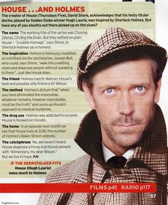 House & Holmes - The inspiration behind the doctor.