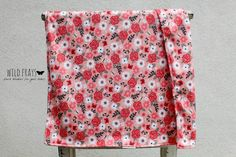"1 DOUBLE-SIDED medium/large ""flowers and roses - peach"" baby blanket {size 26""x37""} fabric print on front and back."