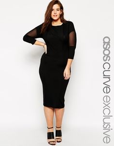 f67bb65ec4cf2 ASOS CURVE Body-Conscious Dress With Mesh Curve Bodycon Dresses