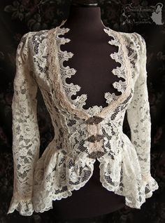 Romantic cardigan, Somnia Romantica by M. Turin by SomniaRomantica on DeviantArt Victorian Fashion, Vintage Fashion, Vintage Dresses, Vintage Outfits, Lace Jacket, Historical Clothing, Fashion Outfits, Womens Fashion, Costume Design
