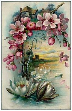 Enjoy your afternoon,xxx❤❤❤💌🍀❄🍀 Decoupage Vintage, Vintage Paper, Vintage Greeting Cards, Vintage Postcards, Fabric Paint Designs, Images Vintage, Cottage Art, Flower Cards, Fabric Painting