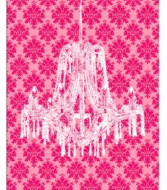 Damask French Country Chandelier Hot Pink Yellow by ZeppiPrints, $24.00