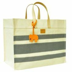 gray striped tote bag with elephant tag