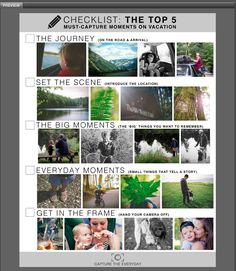 Free printable must-capture photo checklist for vacation