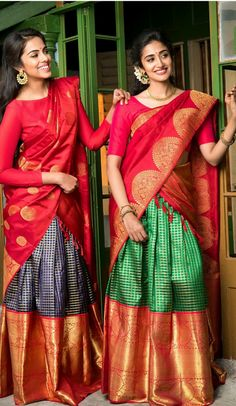 The fine craftsmanship and effort of the weaver is evident in these Kanjivaram korvai pavadais that celebrate the spirit of checks. Let's…southindian wedding bridal half saree dress and jewellery photography Lehenga Designs, Half Saree Designs, Saree Blouse Designs, Dress Designs, Mehndi Designs, Half Saree Lehenga, Saree Look, Saree Dress, Silk Lehenga