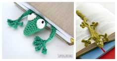 Crochet Headband Gecko Bookmark FREE Crochet Pattern - This adorable crochet gecko bookmark is the perfect little gift for any book lover. This funky Gecko Bookmark FREE Crochet Pattern is fast and fun to make. Love Crochet, Beautiful Crochet, Diy Crochet, Crochet Hats, Crochet Bookmark Pattern, Crochet Bookmarks, Diy Craft Projects, Crafts, Crotchet Patterns