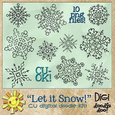 Let it Snow - Snowflake - CU doodles , cudigitals.com,cu,commercial,digi,digital,scrap,scrapbook,graphic,