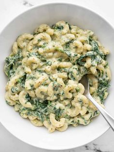 Spinach Mac And Cheese, Frozen Spinach, Macaroni And Cheese, Creamy Pesto, Kale Pesto, Basil Pesto, Vegetarian Main Dishes, Vegetarian Lunch, Easy White Sauce
