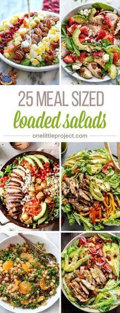 These meal sized loaded salads look AMAZING! Im always worried that I wont be fu… These meal sized loaded salads look AMAZING! Im always worried that I wont be full after eating a salad for dinner, but these salads have everything! Salada Light, Healthy Snacks, Healthy Eating, Clean Eating Salads, Diet Snacks, Summer Salads, Soup And Salad, Salad Bar, Cobb Salad