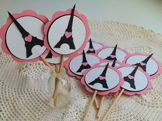 Le Grand Paris -French Inspired Party Collection - Eiffel Tower Cupcake Toppers - Set of 12 - Happy Birthday - Baby Shower - Bridal Shower on Etsy, $8.00