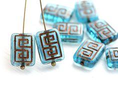 Rectangle Czech Beads, Greek Key, Aqua Blue and Copper (8) - MayaHoneyBead