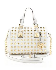 I have to have a white bag for the summer      Medium Grayson Studded Satchel by MICHAEL Michael Kors at Neiman Marcus.