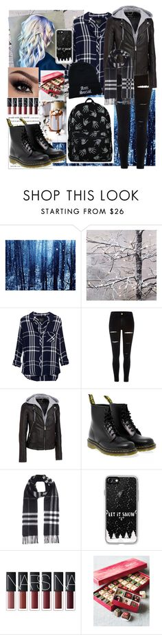 """""""❄winter❄⛄"""" by angelofdarkness101 ❤ liked on Polyvore featuring Disney, Rails, River Island, Wilsons Leather, Dr. Martens, Burberry and Casetify"""