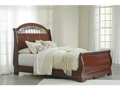 """Shop+for+Signature+Design+by+Ashley+Queen+Sleigh+Headboard,+B105-77,+and+other+Bedroom+Beds+at+I.+Keating+Furniture+in+Minot,+Bismarck,+Dickinson+and+Williston,+ND.+The+""""Fairbrooks+Estate""""+bedroom+collection+features+warm+finishes+and+ornate+detailing+to+create+a+furniture+collection+that+is+sure+to+enhance+your+bedroom+decor+with+an+inviting+traditional+design."""