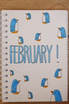 february monthly cover bujo bullet journal winter drawing Penguin dessin pingouin easy drawing tutorial to learn how to draw a pinguin quickly and easily page de garde février thème hiver pour bullet journal doodle de pingouin apprendre à dessiner tuto dessin pingouin facile diy couleurs de feutre bleu clair et orange motif design minimaliste avec animaux facile #bujo #bulletjournal #february #monthlycover #bulletjournaling #dessin #diy #doityourself #kidscraft
