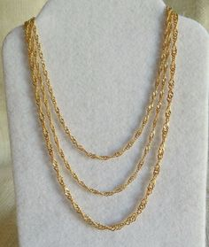 Multi Strand Layered Gold Tone Chain Necklace, Trendy Fashion Necklace