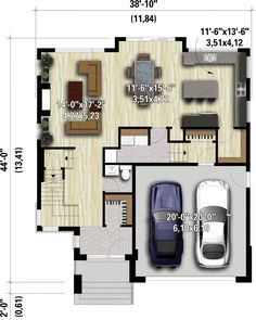 Two-Story Northwest House Plan with 4 Bedrooms - floor plan - Main Level Dream House Plans, Small House Plans, House Floor Plans, Architectural Design House Plans, Architecture Design, Staircase Frames, L Shaped House Plans, Two Storey House, Open Layout