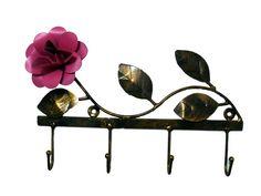 Porta chaves floral de ferro 4 ganchos