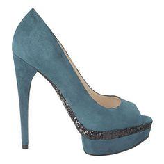 "Peep toe pump with genuine suede upper. 5 1/2"" heel with 1 1/4"" platform."
